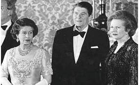 Baroness Margaret Thatcher with Queen and Reagan